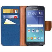 Book Wallet für Samsung Galaxy J5 2015 Schutzhülle im Jeans-Look