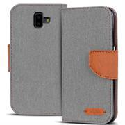 Textil Klapphülle für Samsung Galaxy J6 Plus - Hülle im Jeans Stoff Design Wallet Tasche