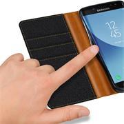 Handy Tasche für Samsung Galaxy J7 2017 Hülle Wallet Jeans Case Schutzhülle