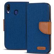 Book Wallet Hülle für Samsung Galaxy M20 Schutzhülle im Jeans-Look