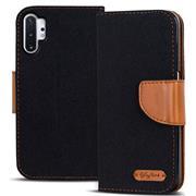 Book Wallet Hülle für Samsung Galaxy Note 10 Plus Schutzhülle im Jeans-Look