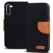 Book Wallet Hülle für Samsung Galaxy Note 10 Schutzhülle im Jeans-Look