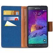 Textil Klapphülle für Samsung Galaxy Note 4 - Hülle im Jeans Stoff Design Wallet Tasche