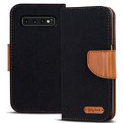 Book Wallet für Samsung Galaxy S10 Schutzhülle im Jeans-Look