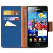 Textil Klapphülle für Samsung Galaxy S2 / S2 Plus - Hülle im Jeans Stoff Design Wallet Tasche