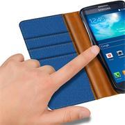 Textil Klapphülle für Samsung Galaxy S3 Mini - Hülle im Jeans Stoff Design Wallet Tasche