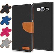 Textil Klapphülle für Samsung Galaxy S3 / S3 Neo - Hülle im Jeans Stoff Design Wallet Tasche