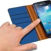 Book Wallet für Samsung Galaxy S4 Schutzhülle Tasche im Jeans-Look