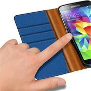 Textil Klapphülle für Samsung Galaxy S5 Mini - Hülle im Jeans Stoff Design Wallet Tasche