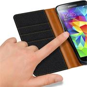 Handy Tasche für Samsung Galaxy S5 Mini Hülle Wallet Jeans Case Schutzhülle