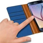 Textil Klapphülle für Samsung Galaxy S6 - Hülle im Jeans Stoff Design Wallet Tasche