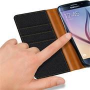 Textil Klapphülle für Samsung Galaxy S6 Edge Plus - Hülle im Jeans Stoff Design Wallet Tasche