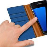 Textil Klapphülle für Samsung Galaxy S7 - Hülle im Jeans Stoff Design Wallet Tasche