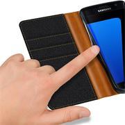 Handy Tasche für Samsung Galaxy S7 Hülle Wallet Jeans Case Schutzhülle