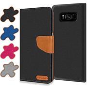Textil Klapphülle für Samsung Galaxy S8 Plus - Hülle im Jeans Stoff Design Wallet Tasche