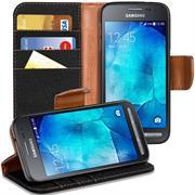 Textil Klapphülle für Samsung Galaxy Xcover 2 - Hülle im Jeans Stoff Design Wallet Tasche
