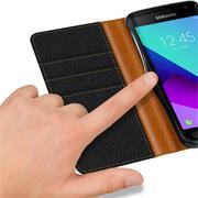 Book Wallet für Samsung Galaxy Xcover 3 Schutzhülle im Jeans-Look