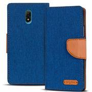 Textil Klapphülle für Wiko Lenny 5 - Hülle im Jeans Stoff Design Wallet Tasche