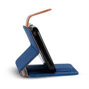 Wallet Tasche für Wiko Lenny 5 klappbare Schutzhülle im Jeans-Look