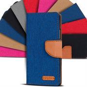 Textil Klapphülle für Wiko Pulp 4G - Hülle im Jeans Stoff Design Wallet Tasche