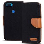 Book Wallet Tasche für Xiaomi Mi 8 Lite Schutzhülle im Jeans-Look