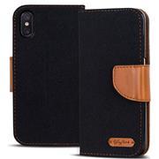 Book Wallet Tasche für Xiaomi Mi 8 Pro Schutzhülle im Jeans-Look
