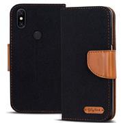 Book Wallet Tasche für Xiaomi Redmi Note 6 Pro Schutzhülle im Jeans-Look