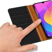 Book Wallet Hülle für Xiaomi Redmi Note 7 Schutzhülle im Jeans-Look aufstellbar