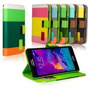 Dreifarbige Hülle für Samsung Galaxy Note 4 Case mit Kartenfächern