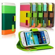 Dreifarbige Hülle für Samsung Galaxy S3 Mini Case mit Kartenfächern