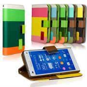 Dreifarbige Hülle für Sony Xperia Z3 Compact Case mit Kartenfächern