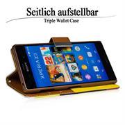 Dreifarbige Hülle für Sony Xperia Z3 buntes Schutzcase mit Kartenslots
