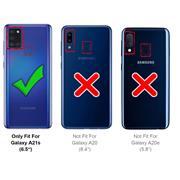 Handykette Camouflage Grün + Hülle für Samsung Galaxy A21s Schutzhülle mit Trage Band Kordel Schnur Case zum umhängen