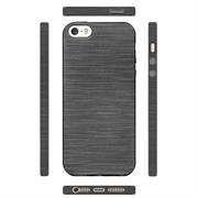 Brushed Silikonhülle für Apple iPhone 5 / 5S / SE Schutzhülle Cover im gebürstetem Design Metallic Look