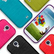 Brushed Silikonhülle für Samsung Galaxy S4 Schutzhülle Cover im gebürstetem Design Metallic Look
