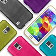 Brushed Silikonhülle für Samsung Galaxy S5 Mini Schutzhülle Cover im gebürstetem Design Metallic Look
