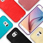 Brushed Silikonhülle für Samsung Galaxy S6 Schutzhülle Cover im gebürstetem Design Metallic Look