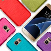 Brushed Silikonhülle für Samsung Galaxy S7 Schutzhülle Cover im gebürstetem Design Metallic Look