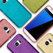 Brushed Silikonhülle für Samsung Galaxy S7 Edge Schutzhülle Cover im gebürstetem Design Metallic Look