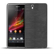 Handy Hülle für Sony Xperia Z Backcover im metallischen Brushed Look