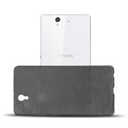 Brushed Silikonhülle für Sony Xperia Z Schutzhülle Cover im gebürstetem Design Metallic Look