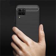 TPU Hülle für Huawei P40 Lite Handy Schutzhülle Carbon Optik Schutz Case
