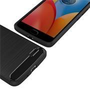 TPU Hülle für Motorola Moto E4 Handy Schutzhülle Carbon Optik Schutz Case