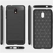 Hülle Carbon für Nokia 3.1 Schutzhülle Handy Case Hybrid Cover