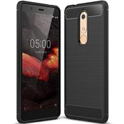 Handy Hülle für Nokia 5.1 Backcover Case im Carbon Design