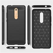 TPU Hülle für Nokia 5.1 Handy Schutzhülle Carbon Optik Schutz Case