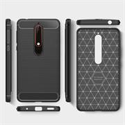 Handy Hülle für Nokia 6 2018 Backcover Case im Carbon Design