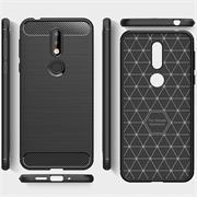 Handy Hülle für Nokia 7.1 Backcover Case im Carbon Design