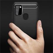 TPU Hülle für Samsung Galaxy A21s Handy Schutzhülle Carbon Optik Schutz Case