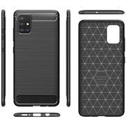 TPU Hülle für Samsung Galaxy A71 Handy Schutzhülle Carbon Optik Schutz Case